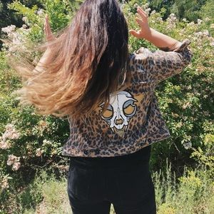 HAND PAINTED Cat Skull leopard print denim jacket